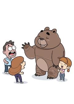 Urso tecendo para as pessoas