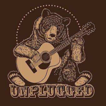 Urso tocando violão acústico