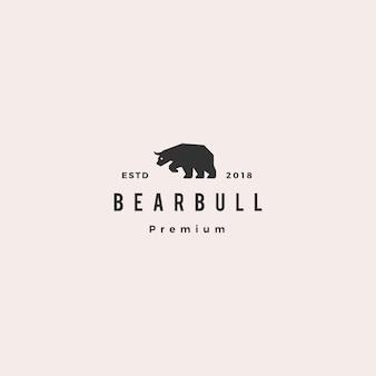 Urso touro logotipo hipster retro vintage