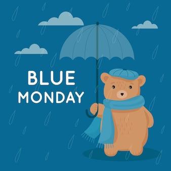 Urso triste na segunda-feira azul