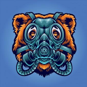 Urso usando ilustração de máscara de gás