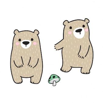 Urso vector cogumelo polar dos desenhos animados