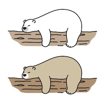 Urso vector desenhos animados de log do sono urso polar