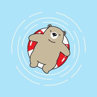 Urso vector ícone do urso polar praia piscina