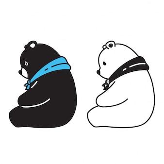 Urso vector lenço de urso polar sentado personagem de desenho animado