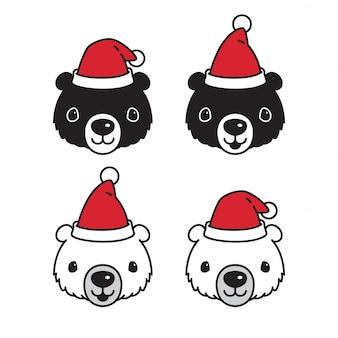 Urso vector logotipo de ícone do urso polar natal papai noel personagem de desenho animado chapéu ilustração