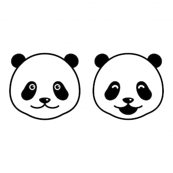 Urso vector panda cabeça dos desenhos animados