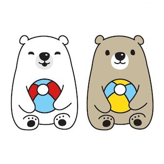 Urso vector personagem de desenho animado de bola de urso polar