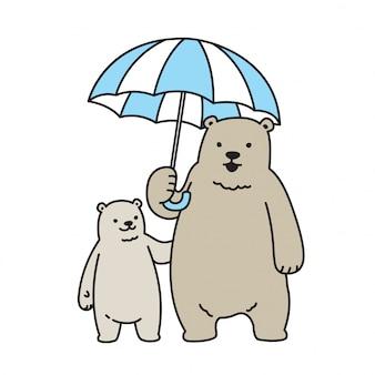 Urso vector personagem de desenho animado de guarda-chuva de urso polar
