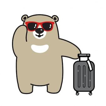 Urso vector personagem de desenho animado de saco de viagem de urso polar
