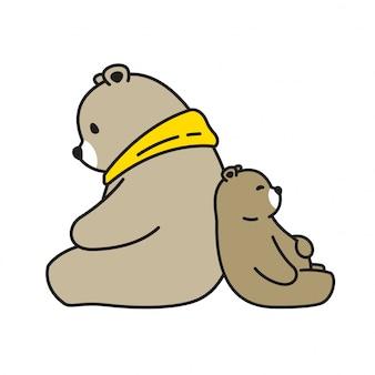 Urso vector personagem de desenho animado dormindo urso polar