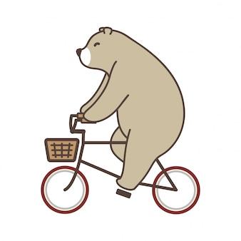 Urso vector urso polar dos desenhos animados de bicicleta