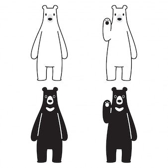 Urso vector urso polar dos desenhos animados