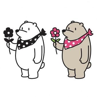 Urso vector urso polar flor dos desenhos animados