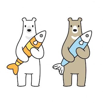 Urso vector urso polar ícone logotipo peixe salmão cartoon personagem ilustração