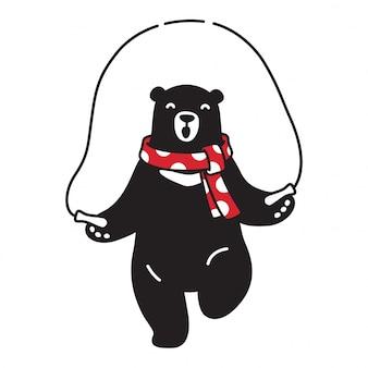 Urso vector urso polar pulando robe