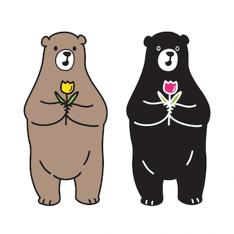 Urso vector urso polar subiu desenhos animados da flor