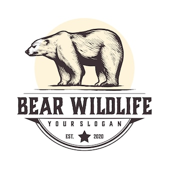 Urso vintage logotipo da vida selvagem