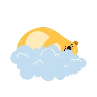 Urso voando e dorme em uma nuvem, feliz ilustração isolada no fundo branco.