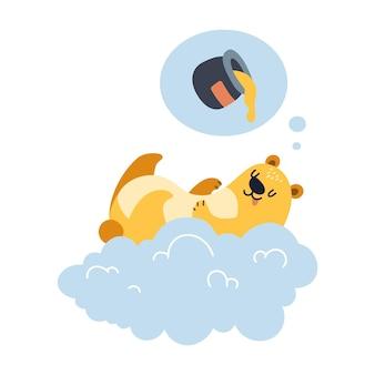 Urso voando em uma nuvem, sonhando com mel, ilustração feliz isolada no fundo branco.
