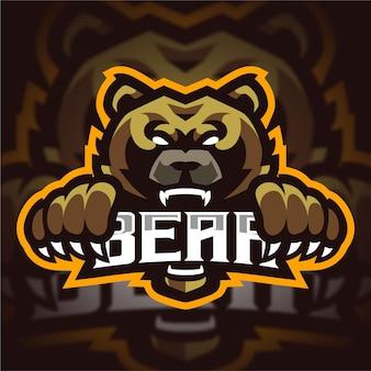 Urso zangado com logotipo de jogo do mascote de garra