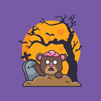 Urso zumbi ascensão do cemitério ilustração fofa dos desenhos animados do dia das bruxas