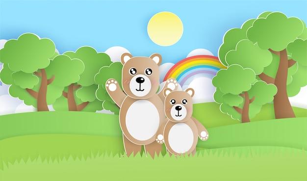 Ursos bonitos na floresta em estilo de corte de papel