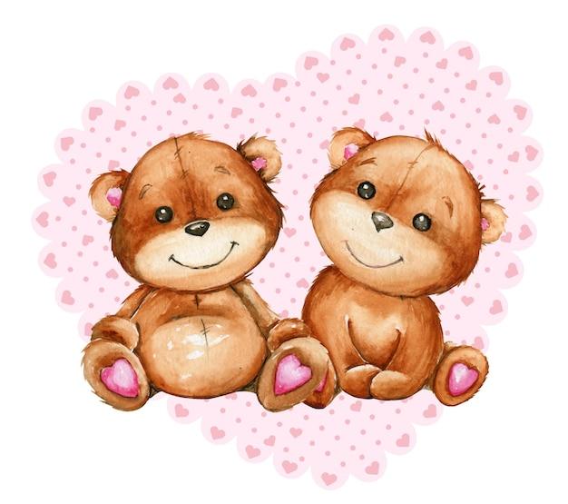 Ursos bonitos, no fundo de um coração feito de fita.