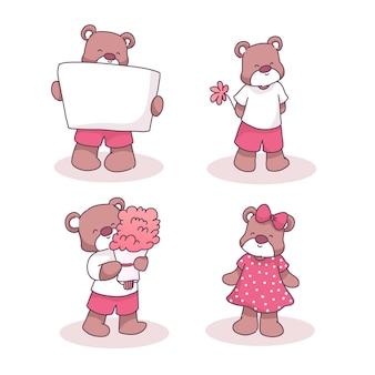 Ursos com flor, cartaz e buquê