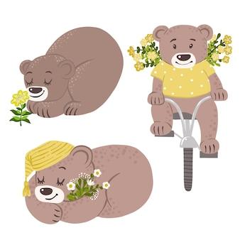 Ursos com flores amarelas em bicicleta