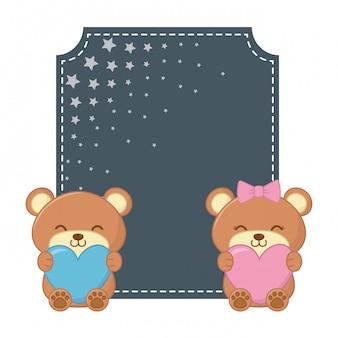 Ursos de moldura quadrada e brinquedo