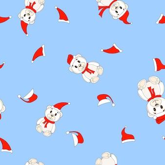 Ursos em chapéus de natal papai noel padrão de fundo sem emenda.