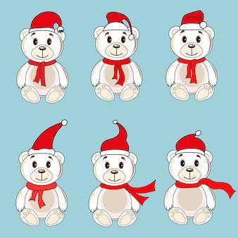 Ursos etiquetas brancas com chapéus de natal do papai noel
