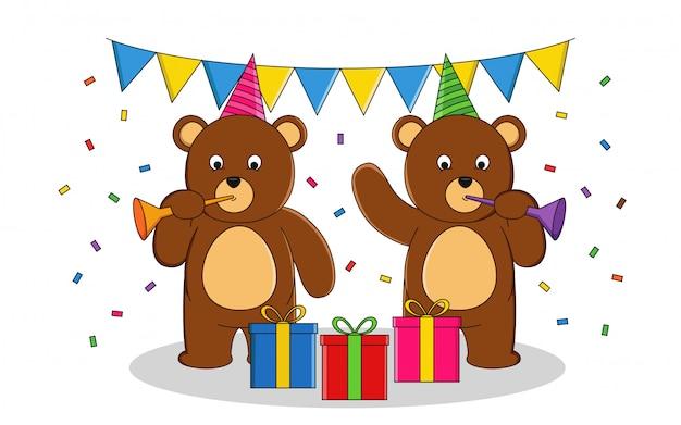 Ursos fazem uma ilustração em vetor de festa de aniversário