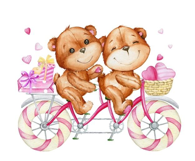 Ursos fofos andando de bicicleta. aquarela