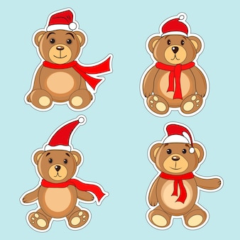 Ursos, marrom, adesivos, em, natal, chapéus, papai noel