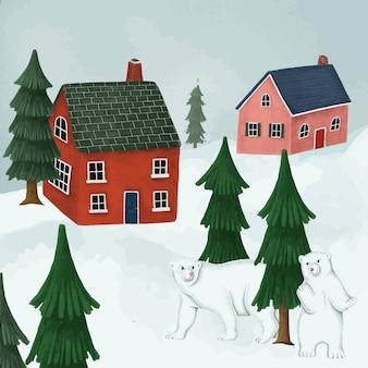 Ursos polares brancos em uma aldeia