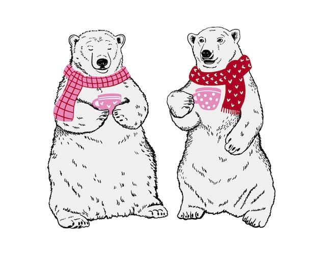 Ursos polares com xícaras de chá