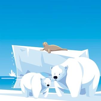 Ursos polares e ilustração da paisagem do pólo norte do iceberg de foca