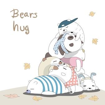 Ursos preguiçosos dormindo