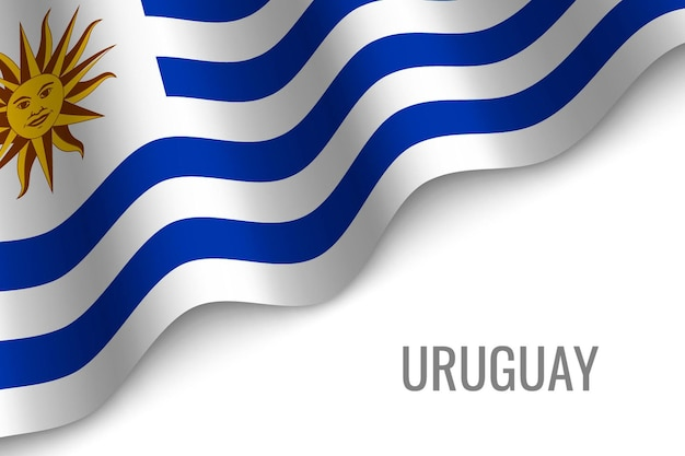Uruguai acenando bandeira Vetor Premium