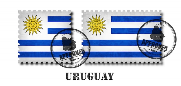 Uruguaio ou uruguai bandeira padrão selo postal