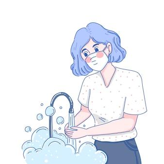 Usando máscara e lavando as mãos