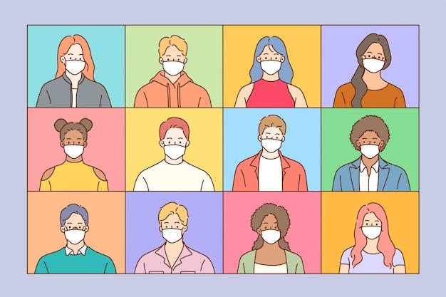 Usando máscaras protetoras médicas contra o conceito de vírus. grupo de pessoas de diferentes idades e etnias, usando máscara médica descartável.