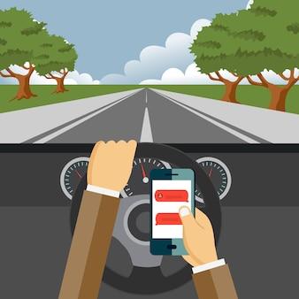 Usando o celular enquanto dirige