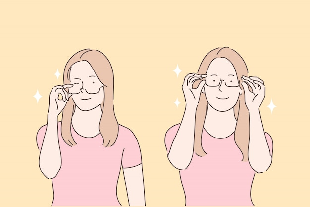Usando óculos, escolhendo o conceito de óculos de teste de aro