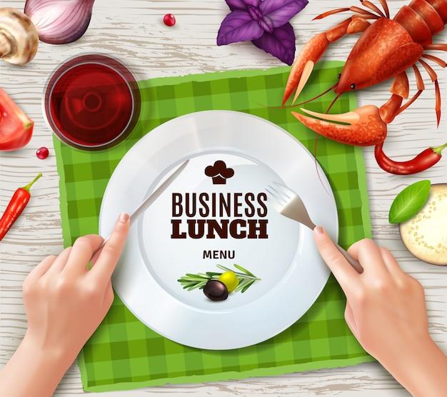 Usando talheres corretamente vista superior placa lagosta salsicha e mãos segurando garfo e faca realista