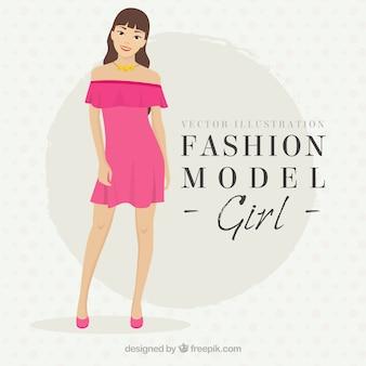 Usando um vestido rosa modelo