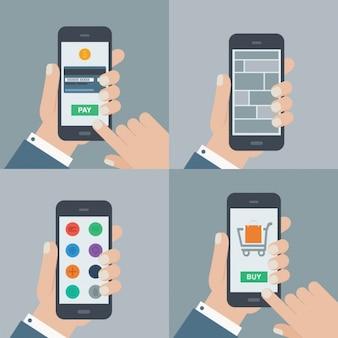 Usando uma coleção ilustrações de telefonia móvel