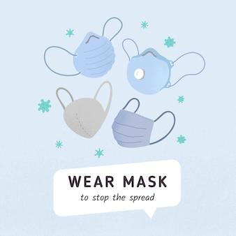 Usar cartaz de anúncio de máscara com ilustrações de máscaras médicas